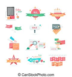 Business Icons for Sale and Discount Promotion Set