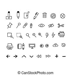 Business icons in sketch style. Vector Illustration