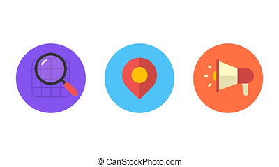 Business icons magnifier geotag megaphone. Animation icons. Transparent background. Loop animation. Motion graphics