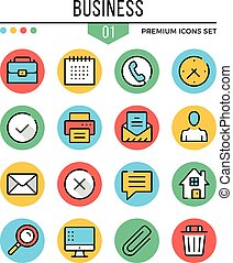 Business icons. Modern thin line icons set. Premium quality. Outline symbols, graphic elements, concepts, flat line icons. Creative vector illustration