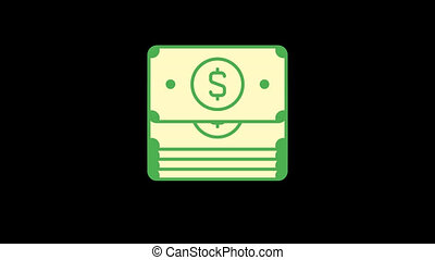 Business icons money. Animation icons. Transparent background. Loop animation. Motion graphics
