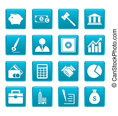 Business icons on blue squares