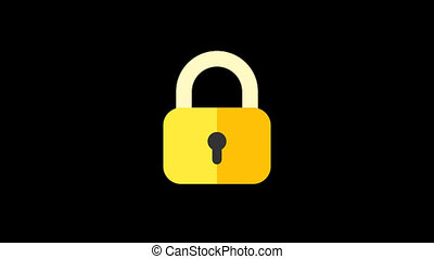 Business icons padlock. Animation icons. Transparent background. Loop animation. Motion graphics