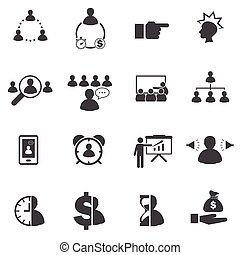 Business icons set, Business people