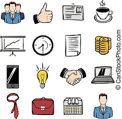 Business icons set cartoon