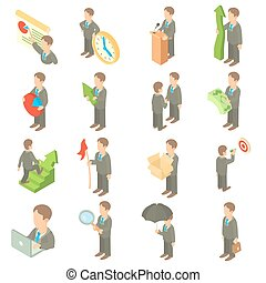 Business icons set, cartoon style