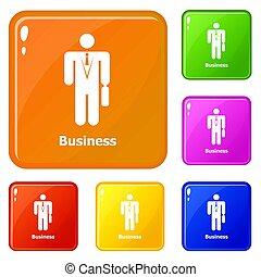 Business icons set color