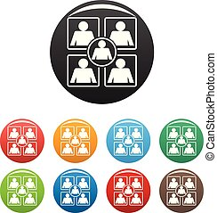 Business icons set color vector