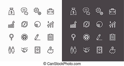 Business icons set. flat line design vector for Web and Mobile.