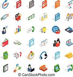 Business icons set, isometric style
