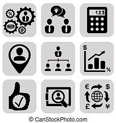 Business icons set, management and human resources