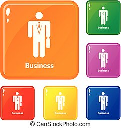 Business icons set vector color