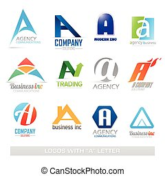 Business icons set with a letter