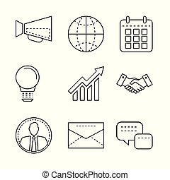 Business icons set with thin line elements for mobile, web apps, infographic and design.
