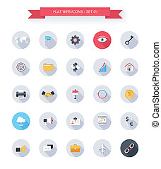 Vector collection of modern, simple, flat and trendy business and office icons with long shadow.