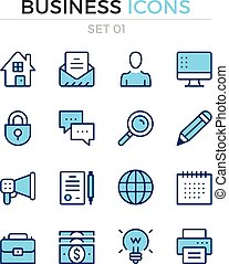 Business icons. Vector line icons set. Premium quality. Simple thin line design. Modern outline symbols, pictograms