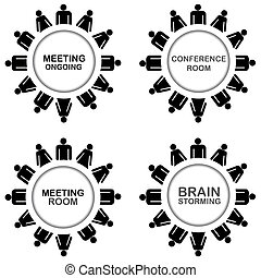 Business icons with conference room, meeting room, meeting...
