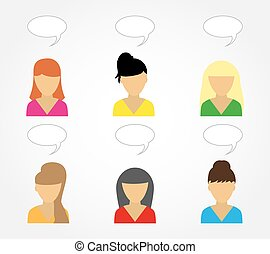 Business icons young beautiful women Image
