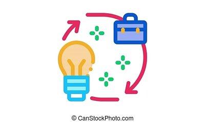 business idea circle arrows Icon Animation. color business idea circle arrows animated icon on white background
