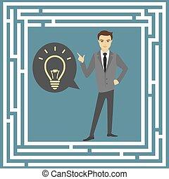 Business idea concept, labyrinth and a businessman