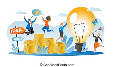 Business idea concept, people get money vector illustration. Flat success finance investment design, cartoon strategy for attract investor.