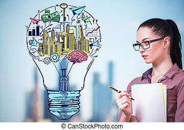 Business idea concept - Thoughtful young businesswoman and...