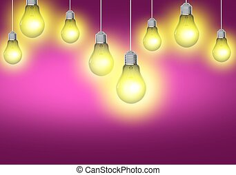 Business Idea Concept. Pink Background with Light Bulbs...
