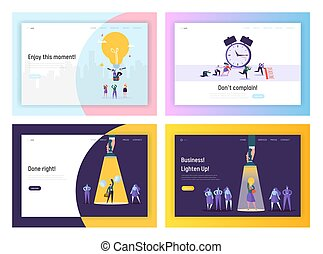 Business Idea, Deadline, Success Website Landing Page Templates Set. Businesspeople Working Process in Office. Hardworking Employees Reach Goals Web Page. Cartoon Flat Vector Illustration, Banner