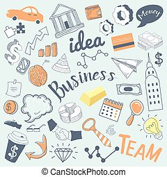 Business Idea Freehand Hand Drawn Doodle. Creative Finance Elements with Money, Hands and Infographics. Vector illustration