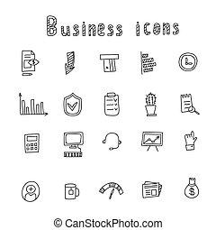 Business Idea hand drawn doodles icons set. Vector illustration.