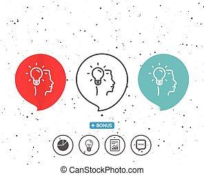 Business Idea line icon. Light bulb sign.