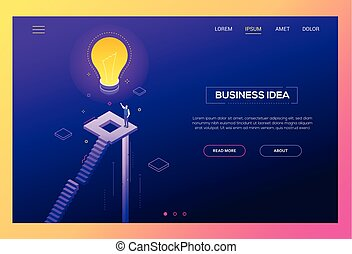 Business idea - modern isometric vector website header
