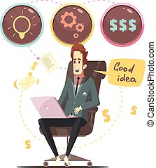 Business Idea Retro Cartoon Poster