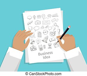 Business Idea. Set of Icon Hand Draw