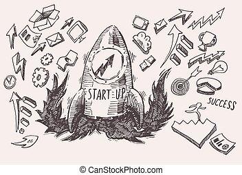Business Idea start up concept doodles icons set