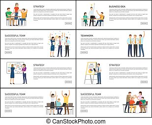 Business Idea Strategy Successful Teamwork Banners
