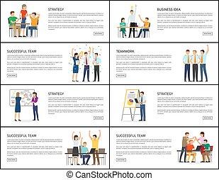 Business Idea Strategy Successful Teamwork Banners