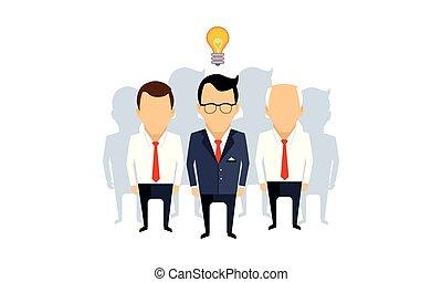 Business idea, team leader, thinking man with idea bulb and...