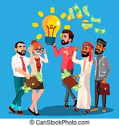 Business Idea Vector. A Man Holding Light Bulb In Hands. Queue Of Multinational Businessmen With Money Bags And Bunch Cash In Hands. Illustration