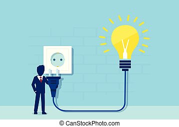 Vector of a businessman with electrical cord and bright idea light bulb plugging to power socket.