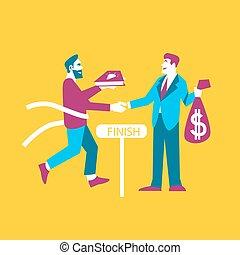 Business ideas banner. Exchange ideas to money - Businessman...