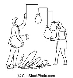 Business ideas collecting, businessman and businesswoman isolated outline drawing