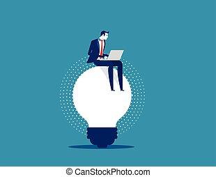 business, ideas., homme affaires, vecteur, concept, fonctionnement, illustration.