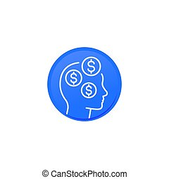 business ideas, money thinking linear icon
