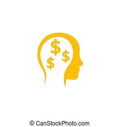 business ideas, money thinking vector icon