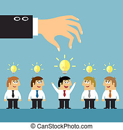 Business ideas selection concepts with human staff and lightbulbs symbols vector illustration