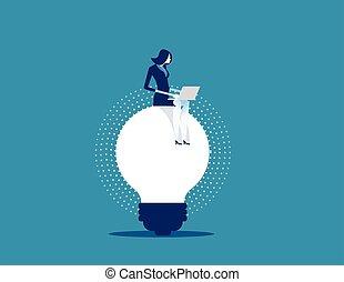 business, ideas., vecteur, femme affaires, concept, fonctionnement, illustration.