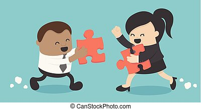 Business illustration concept African business men and women business man holding a jigsaw puzzle