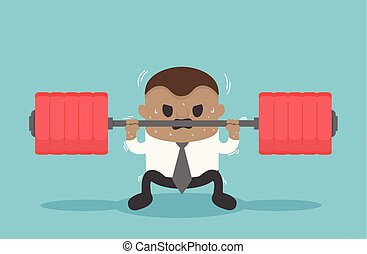 Business illustration concept African businessmen are lifting weights that represent a heavy burden
