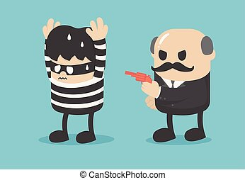 Business illustration concept arresting a businessman who extorts company money or misappropriation